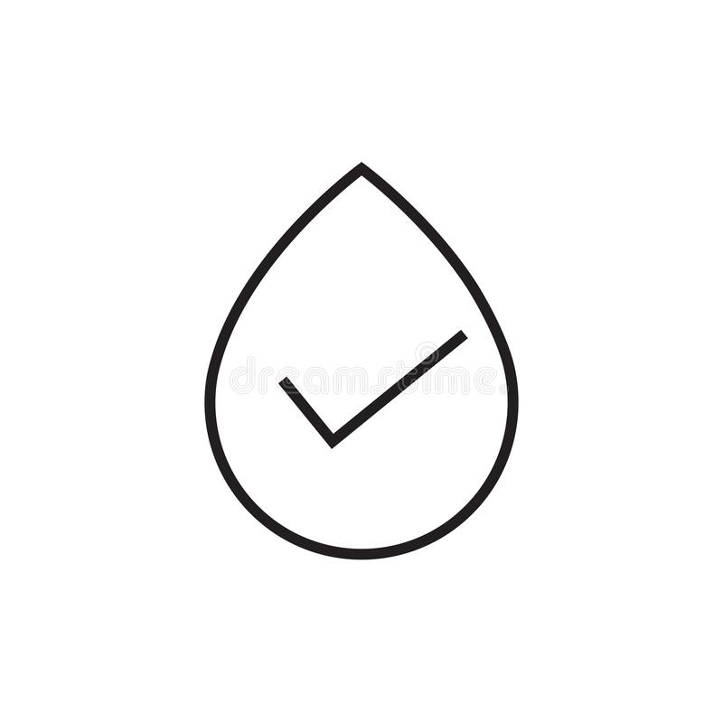 Water drop icon with a check mark that confirms, vector illustration, simple icon on a white background, editable stroke stock illustration