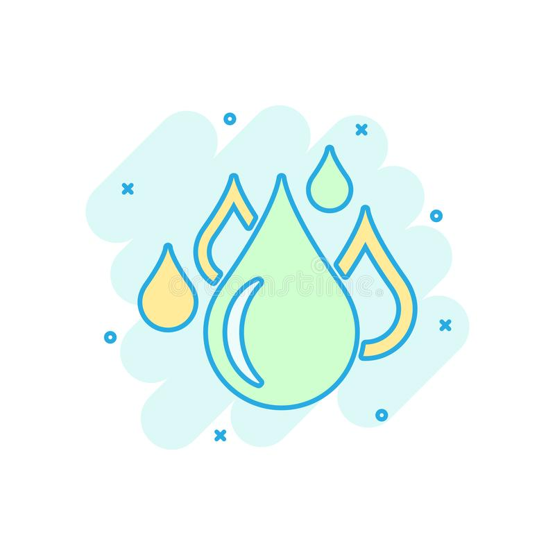 Water drop icon in comic style. Raindrop vector cartoon illustration pictogram. Droplet water blob business concept splash effect.  royalty free illustration