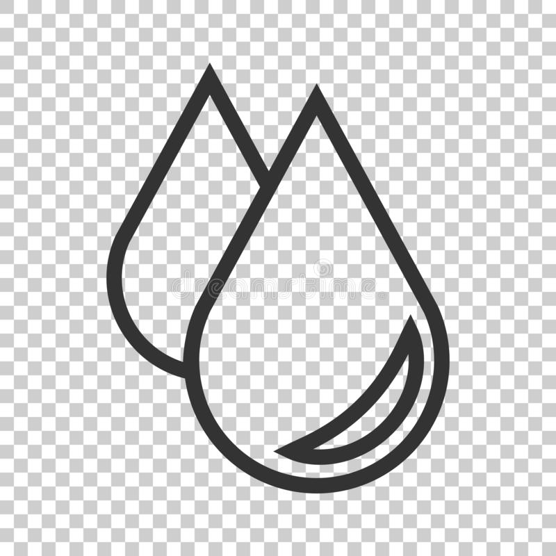 Water drop icon in flat style. Raindrop vector illustration on i. Solated background. Droplet water blob business concept stock illustration