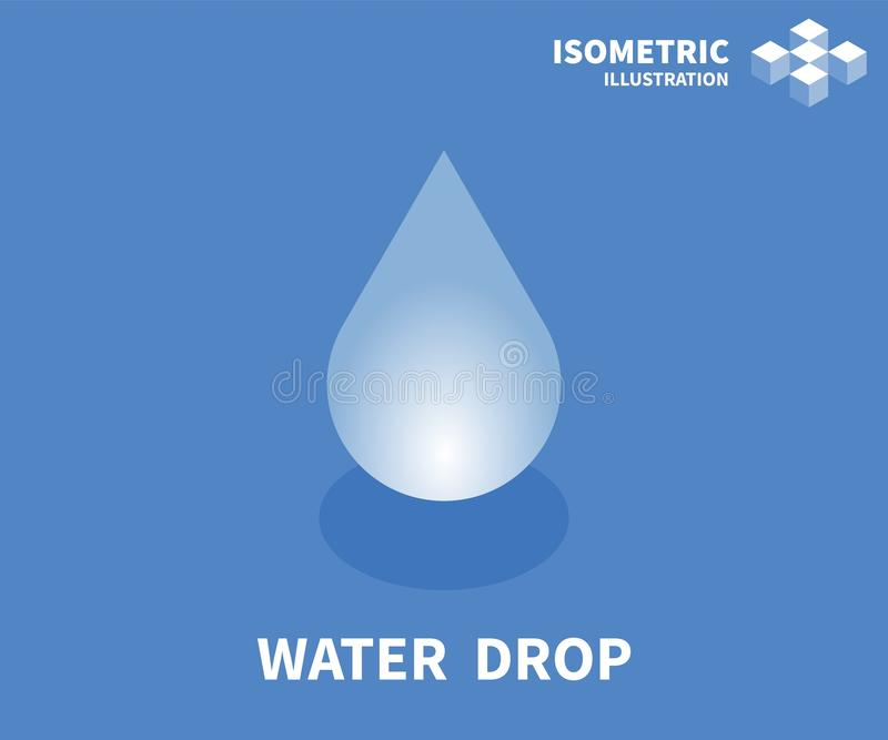 Water drop icon. Isometric template for web design in flat 3D style. Vector illustration stock illustration