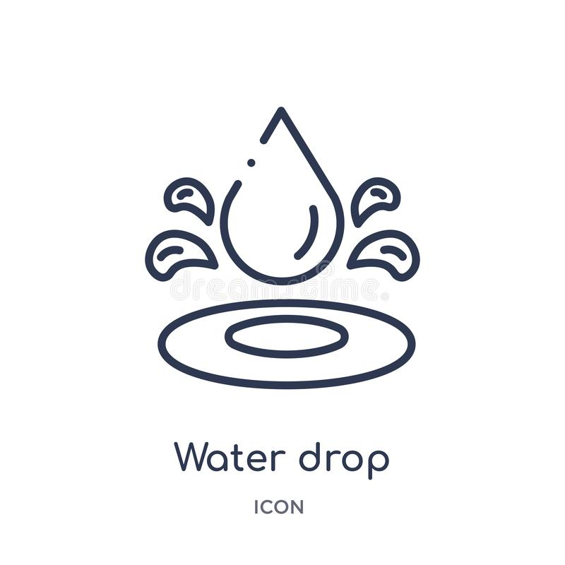 Water drop icon from nature outline collection. Thin line water drop icon isolated on white background stock illustration