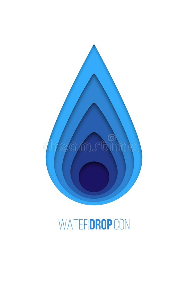 Water drop icon. Vector blue paper water drop isolated on white background. vector illustration