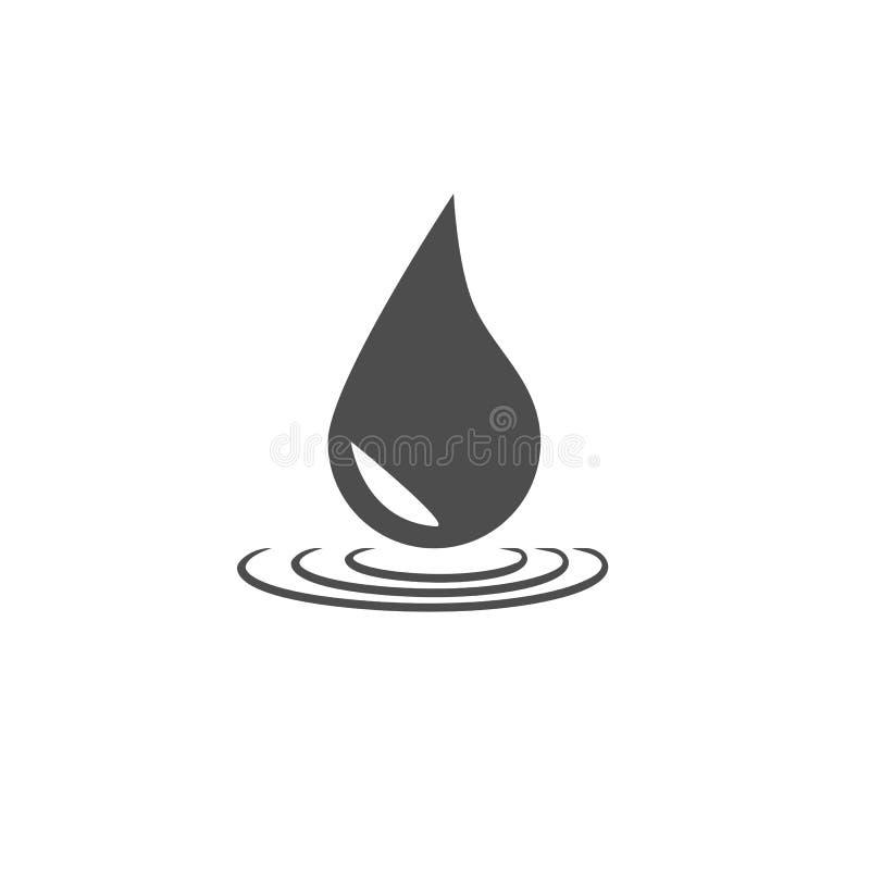 Water drop icon. Vector illustration, flat design. Grey on white background stock illustration