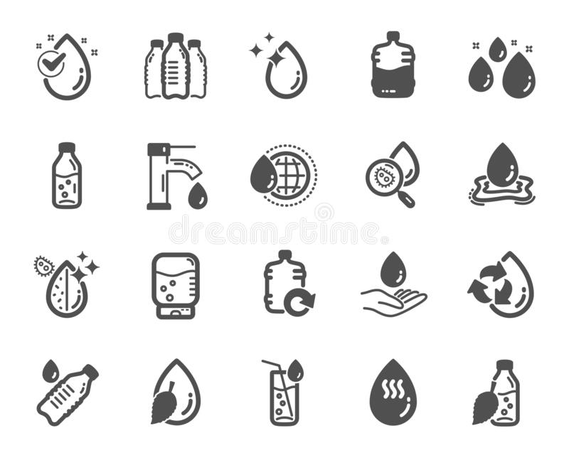 Water drop icons. Set of Bottle, Antibacterial filter and Tap water icons. Vector. Water drop icons. Set of Bottle, Antibacterial filter and Tap water icons royalty free illustration