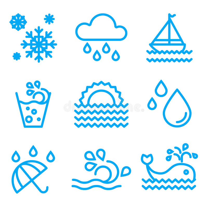 Water And Drop Icons Set vector illustration