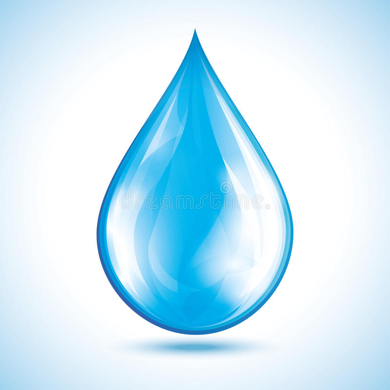 Water drop isolated over white stock illustration