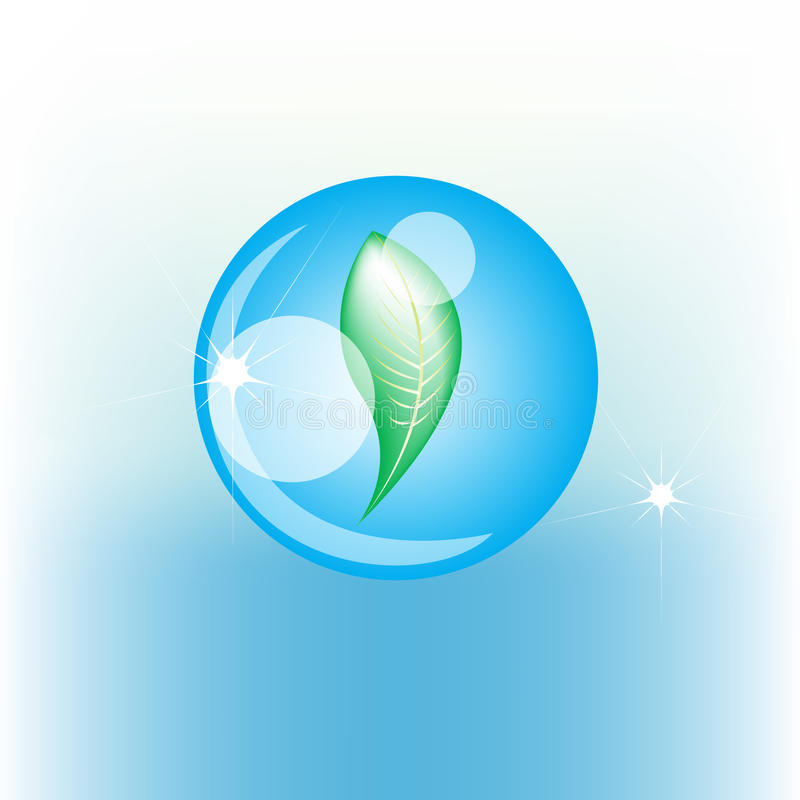 Download Water drop with leaf stock vector. Image of icon, data - 21189392