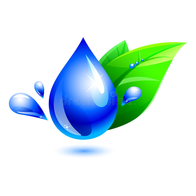 Water drop with leaf. aqua. Blue water drop with green leaf. include path. eps10