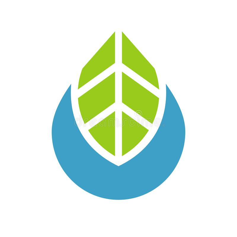 Water drop and leaf logo template, simple eco icon design - Vector royalty free illustration