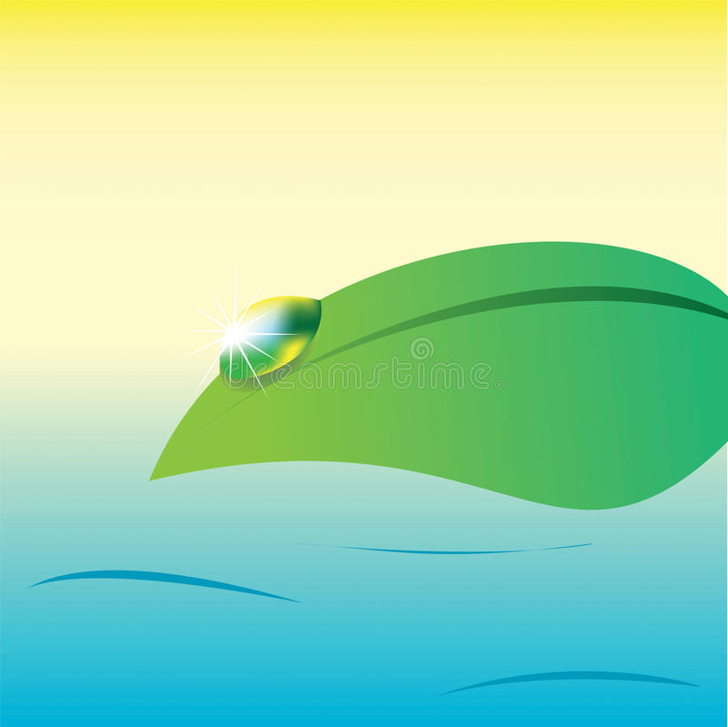 Water drop on a leaf on sea background, vector stock photography