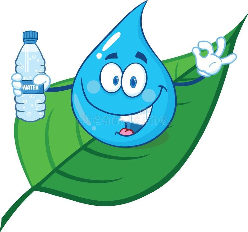 Water Drop On A Leaf Showing Water Bottle vector illustration