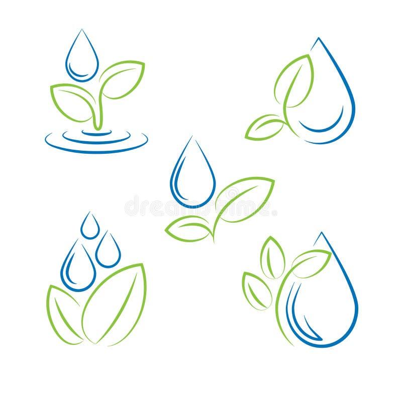 Water drop and leaf symbol vector set royalty free illustration