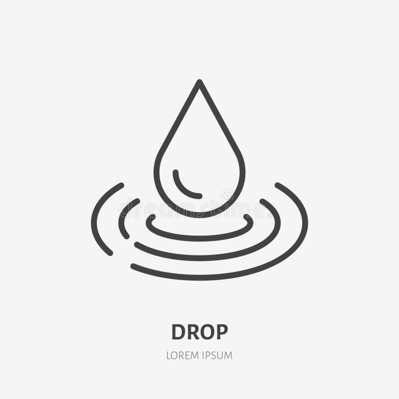 Free Water Drop Line Icon, Vector Pictogram Of Raindrop And Waves. Pure Aqua Illustration, Sign For Liquid Packaging Stock Photos - 169475203