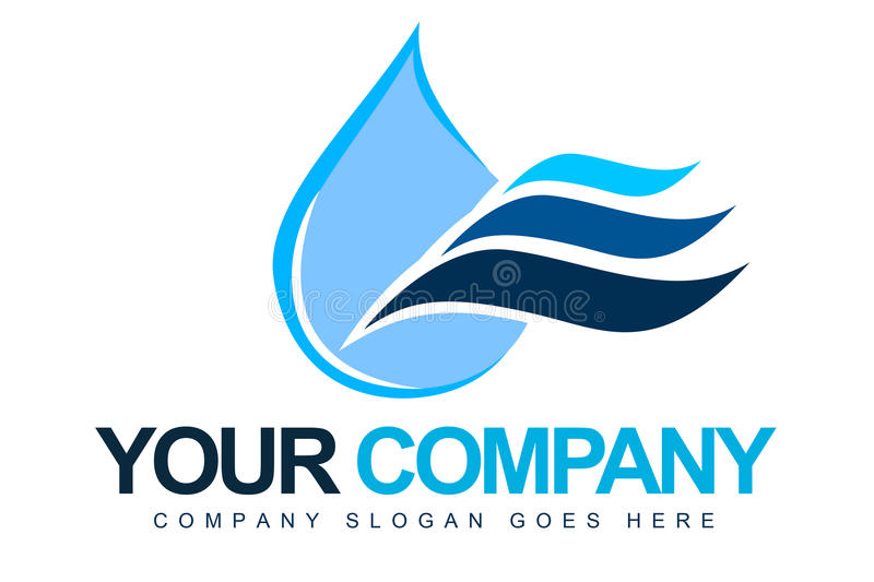 Water Drop Logo. An illustration of a logo representing a blue water drop with waves next ot it