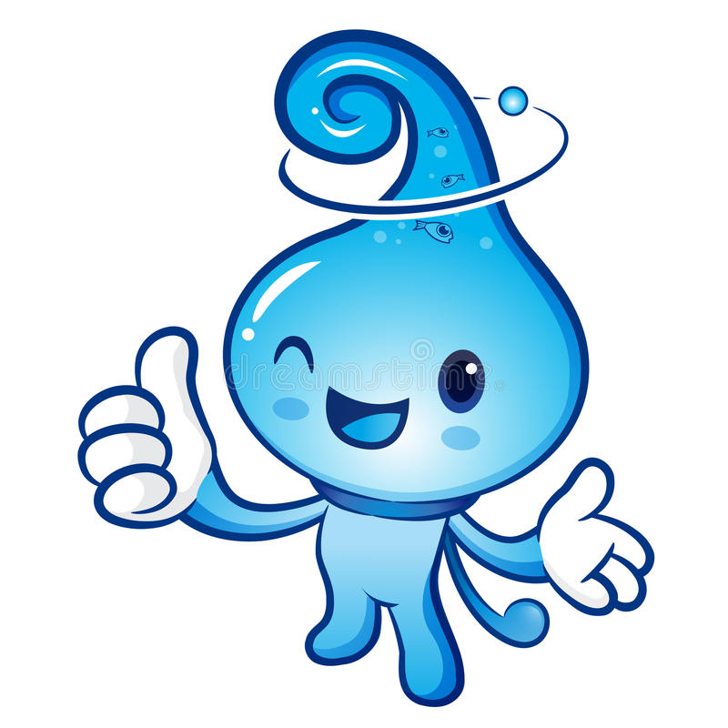 Water drop Mascot the right hand best gesture and the left hand