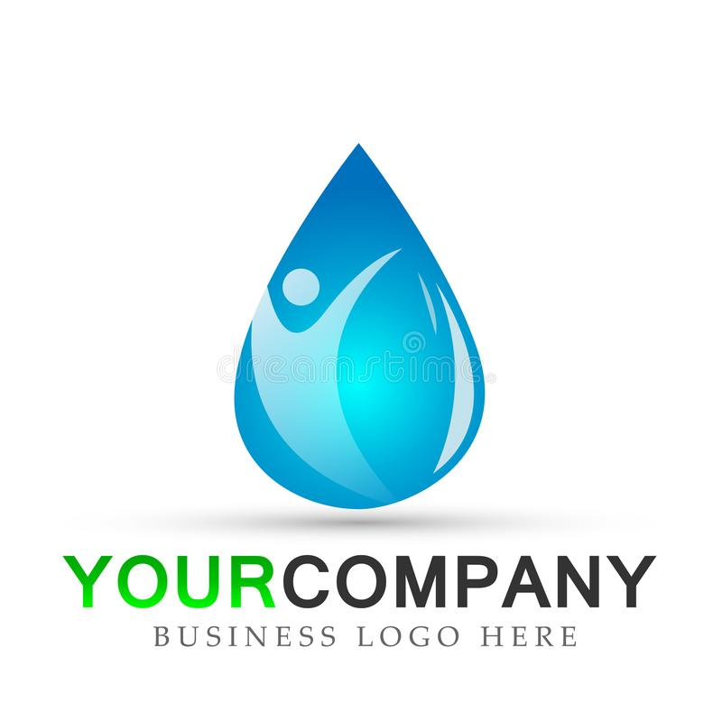 Water drop in people logo hand care water drop nature healthy and pure fresh water symbol elements design on white background. Ai10 illustrations for company or royalty free illustration
