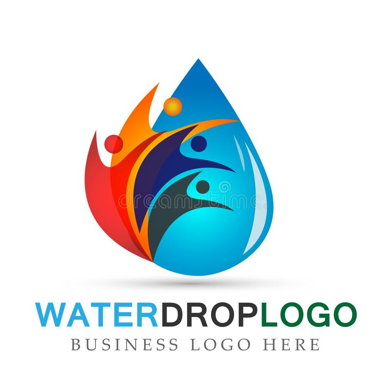 Water drop people logo hand care water drop nature healthy and pure fresh water symbol elements design on white background. Ai10 illustrations for company or stock illustration