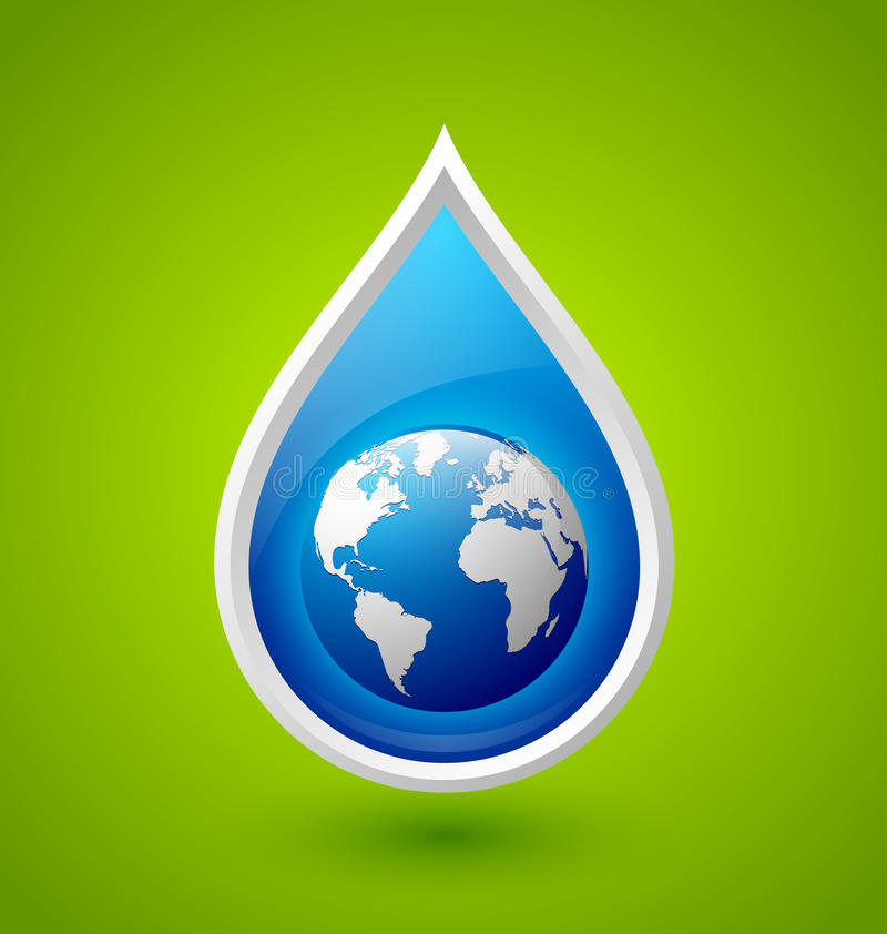 Water drop and planet Earth icon stock illustration