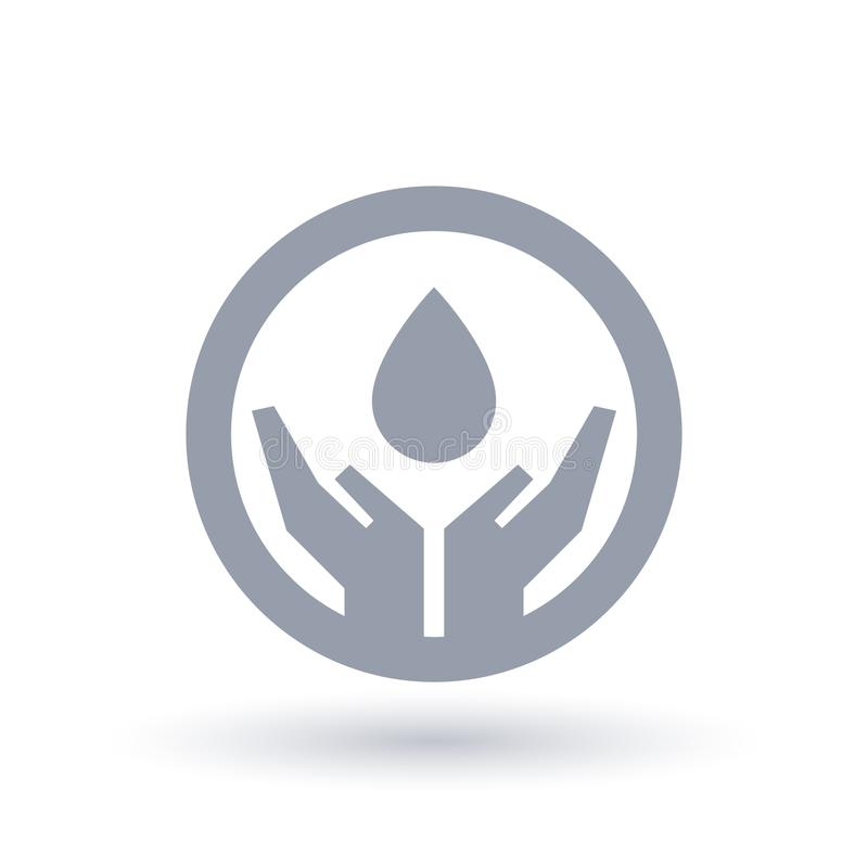 Water drop hands icon. Water conservation symbol. vector illustration