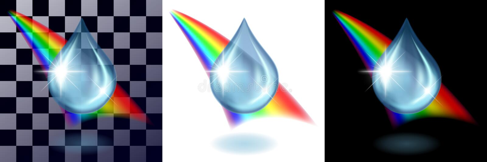 Water drop and raibow on black and white stock illustration
