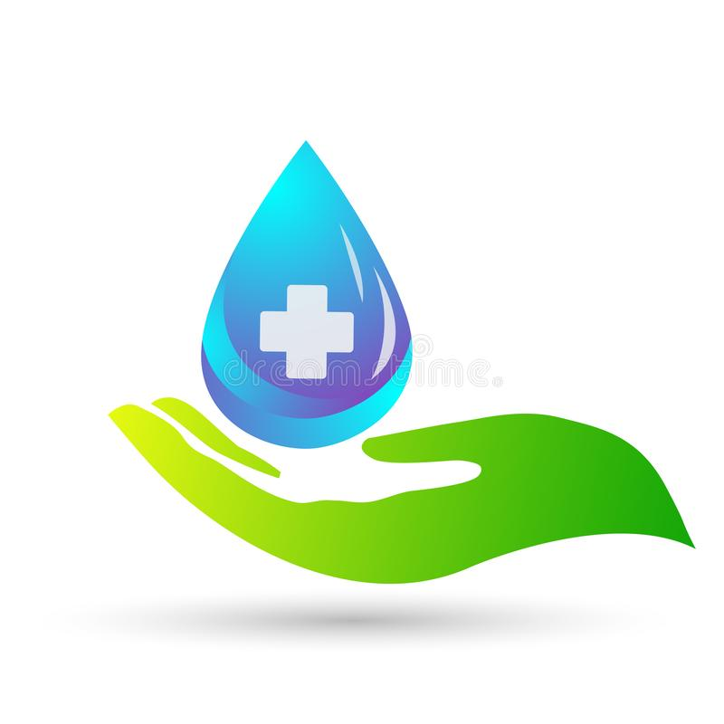 Water drop save water globe people life care logo concept of water drop wellness symbol icon nature drops elements vector design. Water drop save globe medical vector illustration