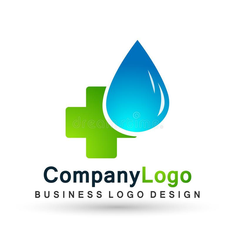 Water drop save water globe people life care logo concept of water drop wellness symbol icon nature drops elements vector design stock illustration