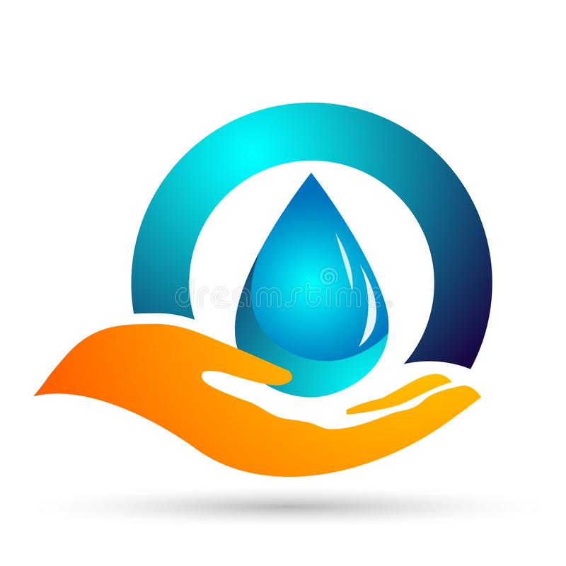 Water drop save water globe people life care logo concept of water drop wellness symbol icon nature drops elements vector design. Globe world Water water home vector illustration