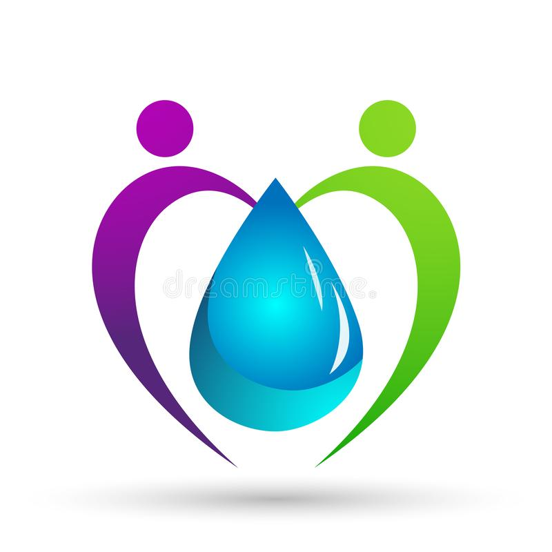 Water drop save water globe people  life care logo concept of water drop wellness symbol icon nature drops elements vector design vector illustration