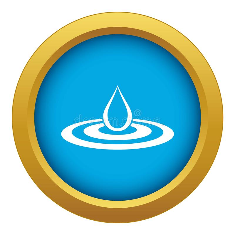 Water drop and spill icon blue vector isolated stock illustration
