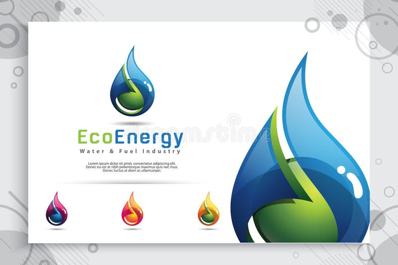 Water drop vector logo design with modern color concept, illustration symbol fresh mineral water for healthy. Water drop vector logo design with modern color vector illustration