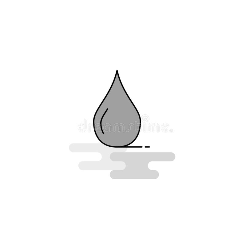 Water drop Web Icon. Flat Line Filled Gray Icon Vector royalty free illustration