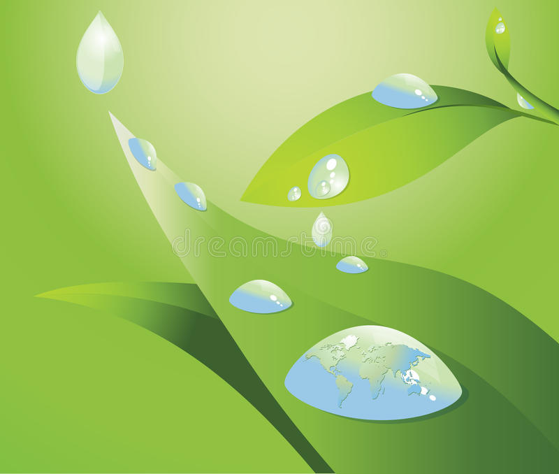 Water Drop And World Map Stock Image
