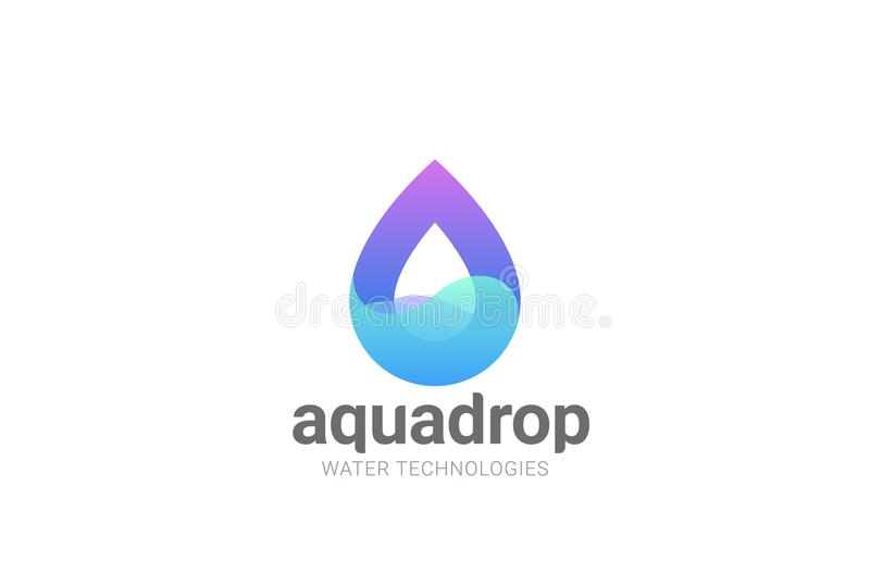Water droplet abstract Logo design vector template. Natural Mineral Aqua Waterdrop Cosmetics SPA Logotype. Drop wave icon.  stock illustration