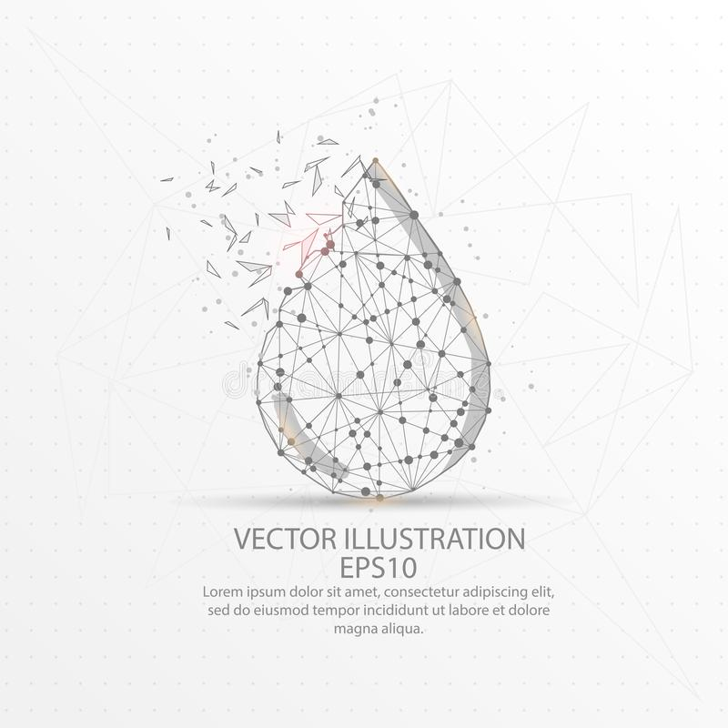Water droplet form low poly wire frame on white background royalty free illustration