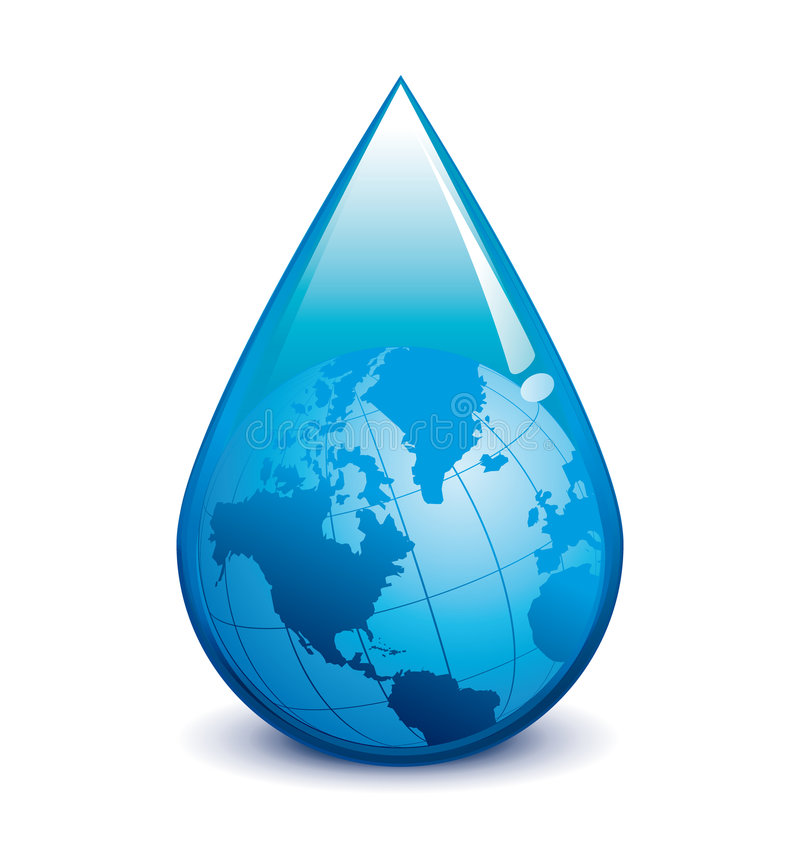 Water droplet with globe. Vector blue water droplet earth illustration
