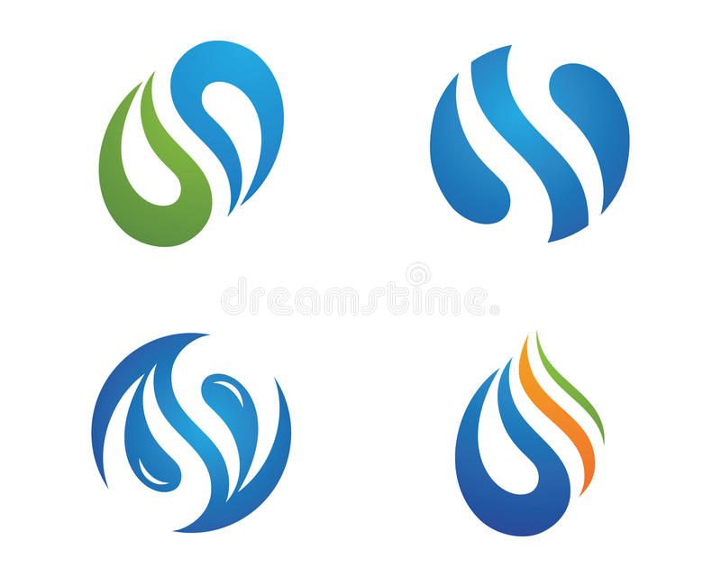 Water droplet logo template. Water droplet element icons business logo stock illustration