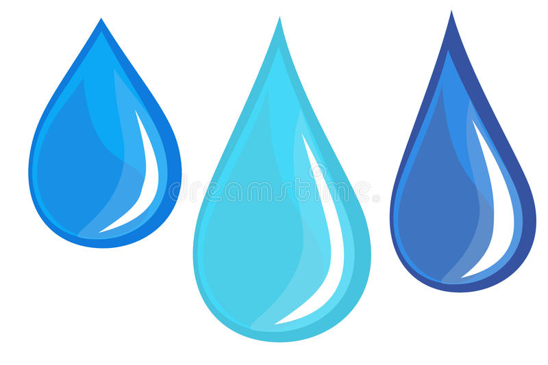 Water droplets. Of slightly different designs and hue for use in part of a possible composite image or character design such as raindrops stock illustration