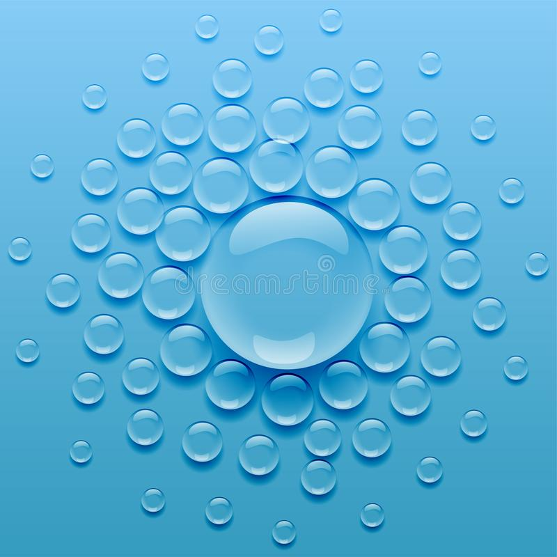 Water droplets on blue background. Vector vector illustration
