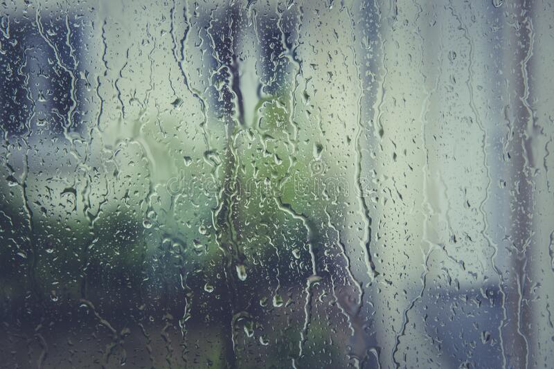 Water Droplets on Clear Glass stock images