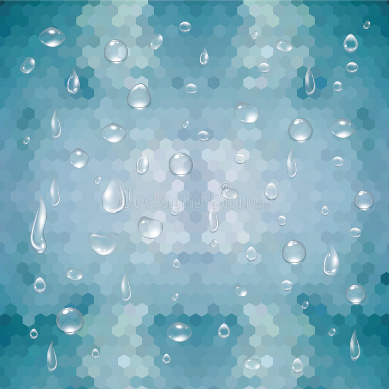Water droplets and geometric background stock illustration