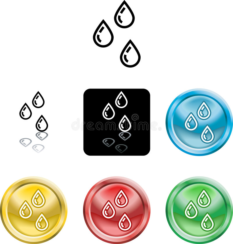 Water droplets icon symbol stock illustration