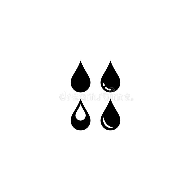 Water droplets vector symbol set. Water drop icon, black isolated glyph collection royalty free illustration
