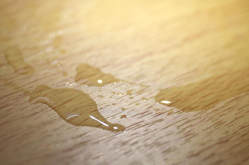 Water droplets stain on Furniture Wooden surfaces, Water stain on wood, Water droplet on wooden surface, Furniture stain stock images
