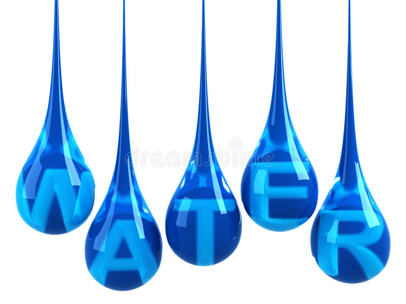 Water drops. With letters isolated on white royalty free illustration