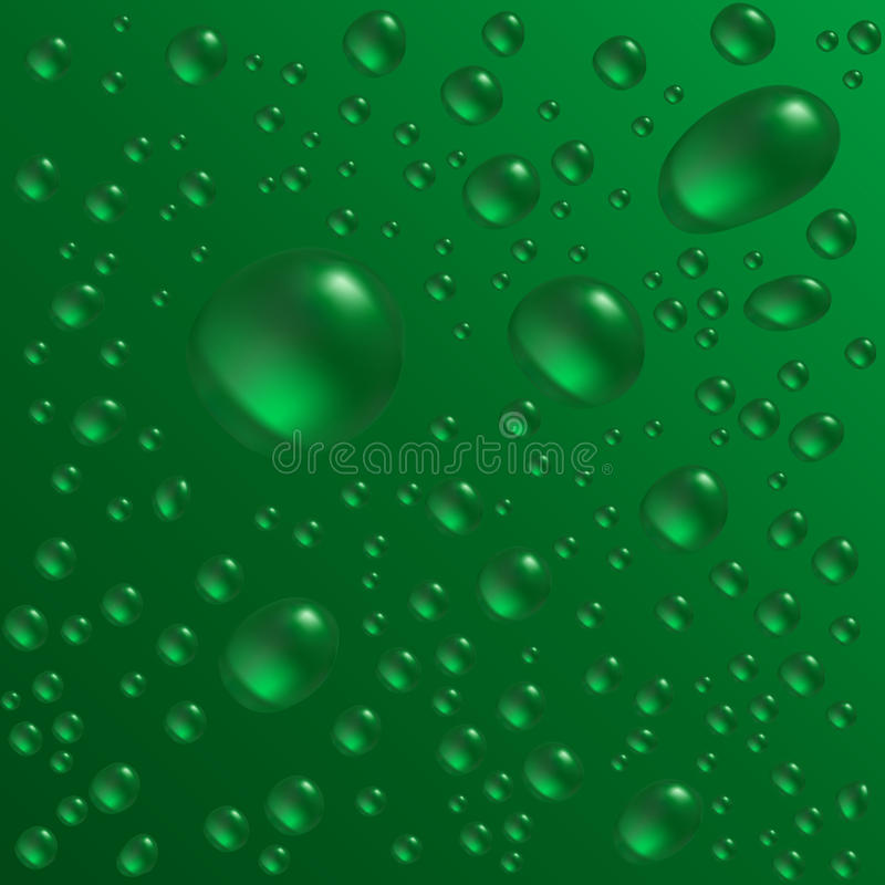 Water drops. Are on the green surface. Vector seamless background image vector illustration