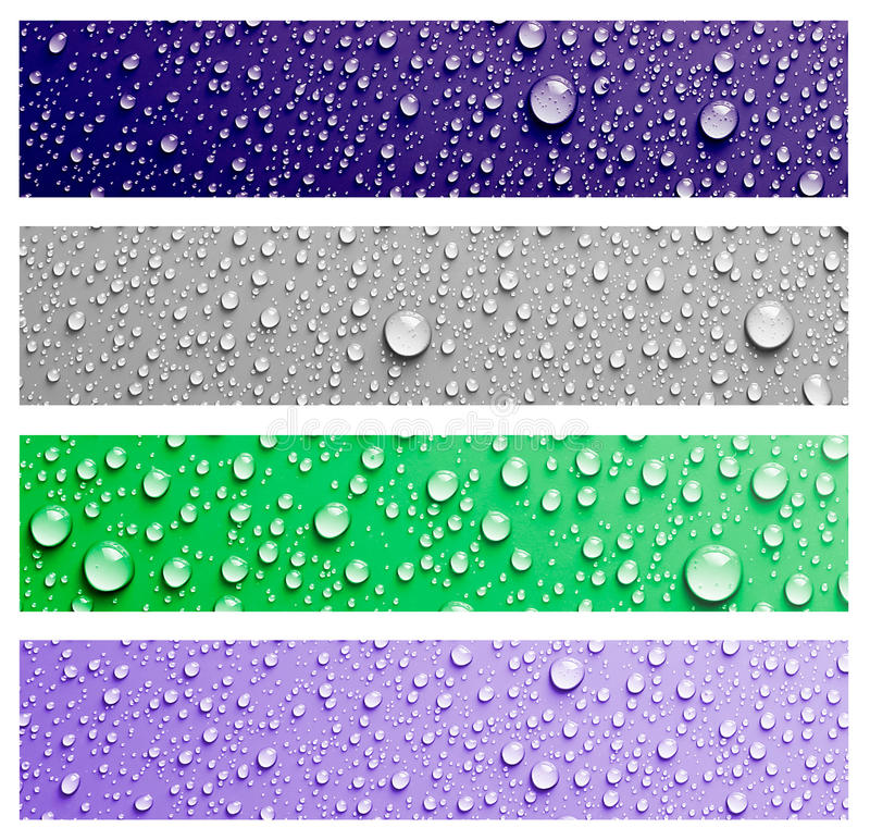 Water drops. Water drop banner set for background royalty free illustration
