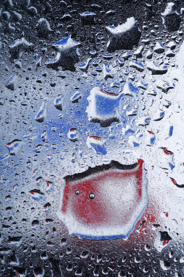 Water Drops. On a glass window stock image