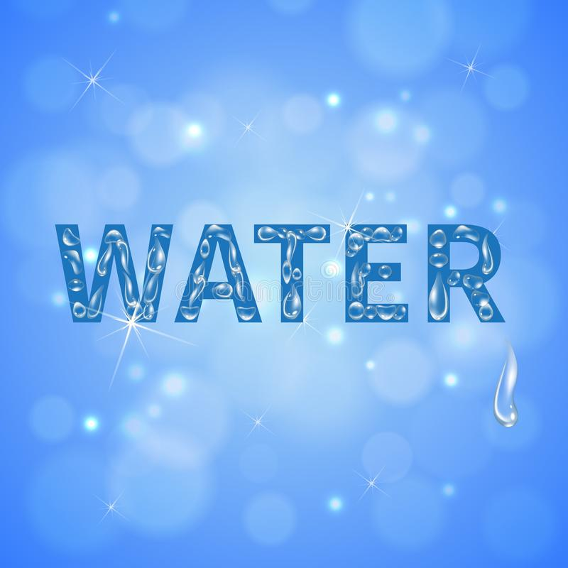 Water Drops Realistic Background. Water drops blue background with sun glare on clean cloudless sky realistic vector illustration royalty free illustration