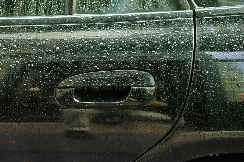 Water Drops On Car Lateral Side Royalty Free Stock Photo