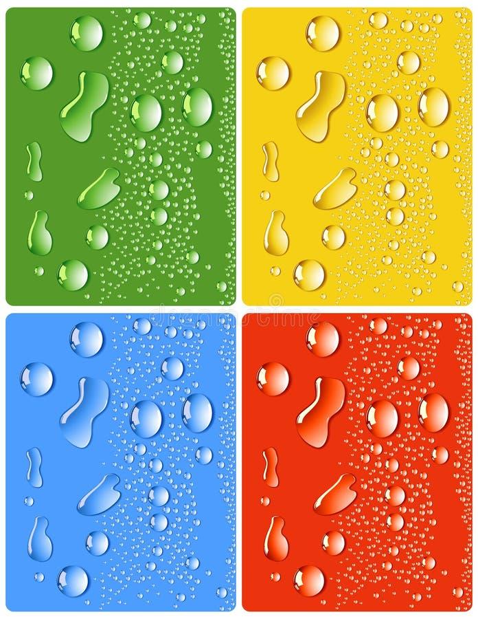 Water_drops_four_different_colors illustrazione di stock